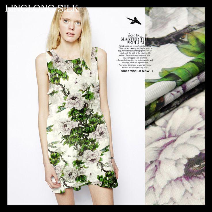 "SILK LINEN FABRIC 14m/m Width 55""-140cm30%Natural Silk+70% Linen Dress Fabrics 2016New Desigual Digital Printing Flower Print"