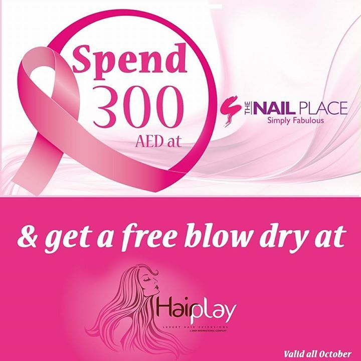 Nailplacedubai is taking part in the breast cancer awareness month with this great offer!  Simply spend AED 300 at The Nail Place and get a FREE Blowdry @hairplaydubai! It's in the same building as we are!   #offerofthemonth #breastcancerawareness #DIFC #manipedi #manicurepedicuredubai #Uae