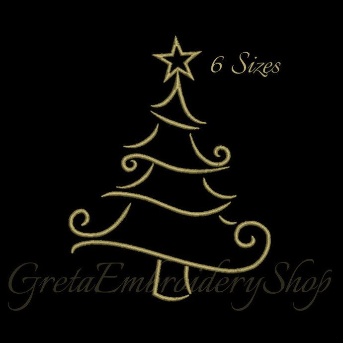 Christmas Tree Machine Embroidery Design Digital Download Instant