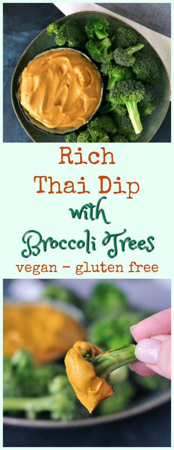Rich Thai Dip with Broccoli Trees spabettie #vegan #dairyfree #glutenfree #gamed…