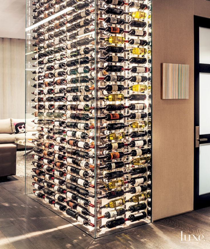 Glass Wine Bottle Accent Wall Luxe Wine Rooms