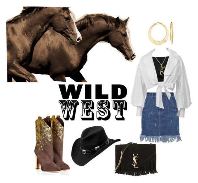 """""""Wild West"""" by rnr210209 on Polyvore featuring Leftbank Art, Helmut Lang, Rupert Sanderson, Yves Saint Laurent, Master Hatters of Texas, Sterling Essentials, Ross-Simons, cowgirl and wildwest"""