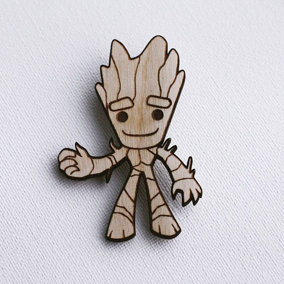 Baby Groot pin Guardians of the Galaxy natural wood pin