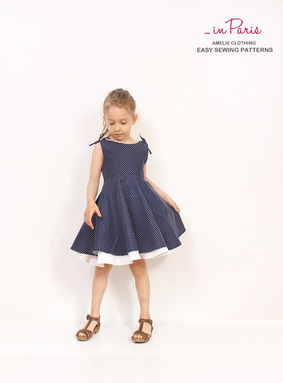 Adria circle dress pattern  girls dress sewing by AmelieClothing