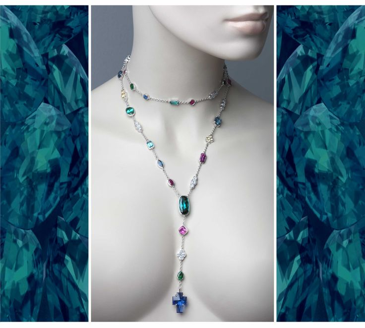 Beautiful gemstones stones sing in this necklace made in 18ct gold - tourmalines, sapphires, rubies, diamonds, emeralds, sapphires and a unique tanzanite cross shaped gem. Such a privilege to have such treasures to work with! © Kristen Malan 2016