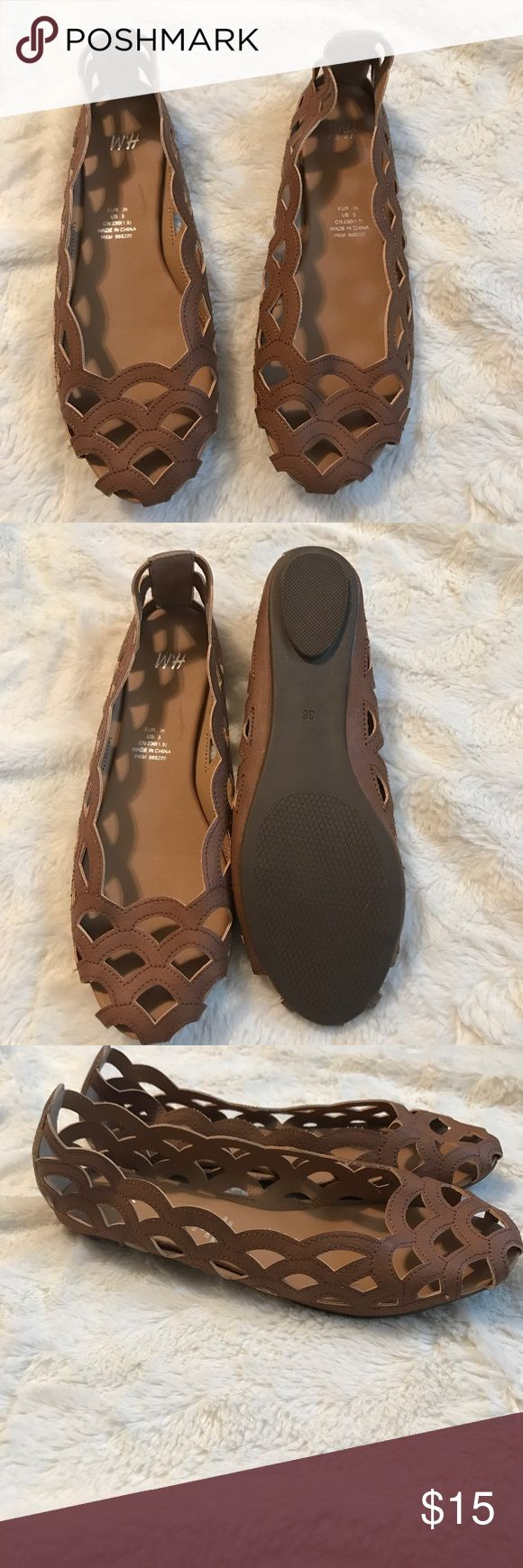 "H&M brown flat shoes size 5 NWOT Brand new, got the wrong size :( , ready to ship! 9"" shoe length, ready to ship! Check out my closet! H&M Shoes Flats & Loafers"