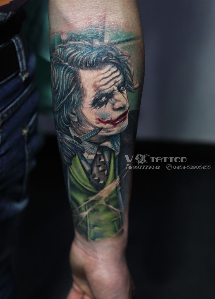 #tattoo #art #ink #inked #3d #arm #hand #face #portrait #Joker #comics #hero #realistic #china #harbin #vtattoo