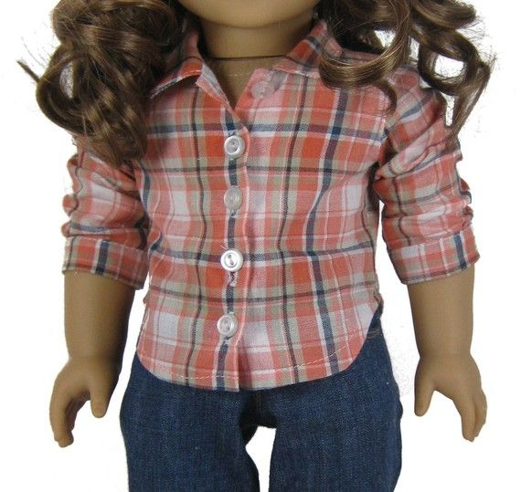 Bella Twilight jeans and button down shirt PDF pattern for American Girl Doll on Etsy, $9.85 CAD