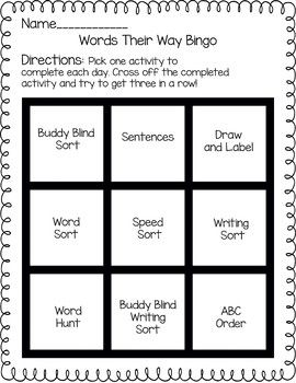 This includes the Words Their Way bingo board and descriptions of each activity on the board. This can be used for homework or in the classroom.