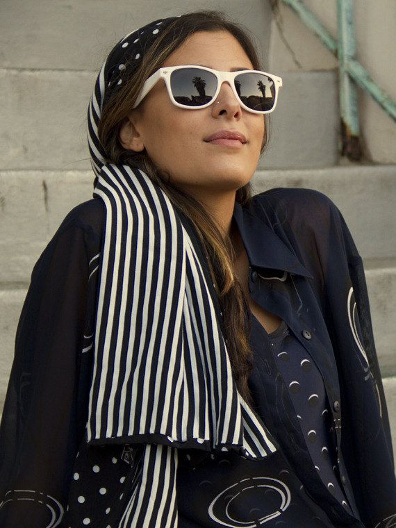 Retro 80s vintage Rayon Double-sided mod stripe x polka-dot Kokin designer  wrap scarf  80a28157e