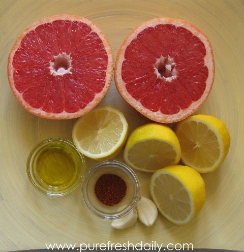 Liver  Gallbladder Cleanse  • juice of 1 sweet grapefruit  • juice of 1 or 2 lemons or limes  • 2 tablespoons extra virgin olive oil  • 1 clove raw garlic (I use 2)  • pinch of cayenne pepper    Mix ingredients together in a blender and drink immediately. MAKE SURE GRAPEFRUIT DOES NOT COUNTERACT WITH RX MEDS