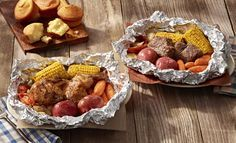 Cracker Barrel - Campfire Meals | Similar to what you might cook over a campfire, the meals feature either two-cuts of USDA Choice chuck roast or a half-chicken seasoned with Cracker Barrel's Campfire spice blend and slow-roasted in foil with corn on the cob, red skin potatoes, carrots, chopped onions, and tomato wedges. A choice of buttermilk biscuits or corn muffins comes on the side.