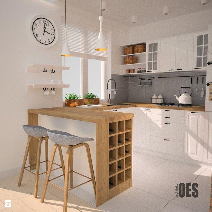Aranżacje wnętrz - Kuchnia: Projekt kuchni i salonu - Mała otwarta kuchnia w kształcie litery u w aneksie, styl skandynawski - OES architekci. Przeglądaj, dodawaj i zapisuj najlepsze zdjęcia, pomysły i inspiracje designerskie. W bazie mamy już prawie milion fotografii!