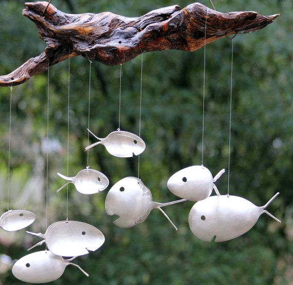 Number 8  Spoon Fish & Drift Wood Wind Chimes by nevastarr on Etsy