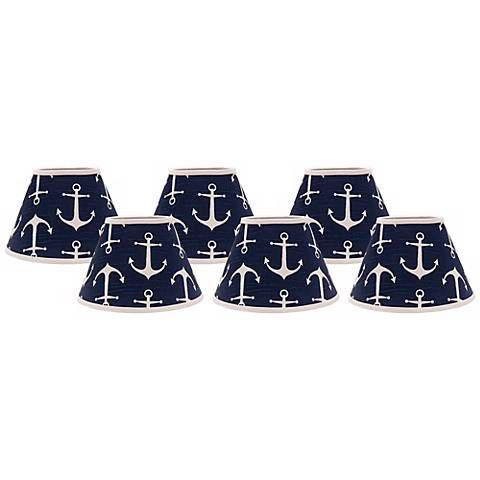 Navy Anchors Aweigh 4x6x5.25 Shade Set of 6 (Clip-On)