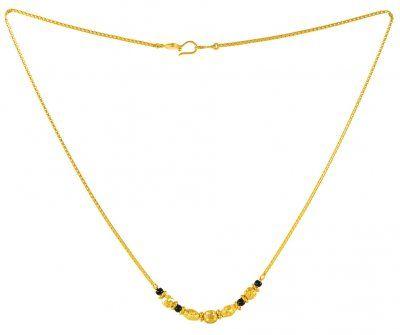 22Kt Gold MangalSutra (Mordern MangalSutra) - ChMs2732 - 22Kt Gold (modern) MangalSutra beaded with black beads and gold balls.