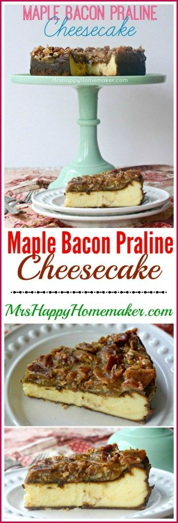 Maple Bacon Praline Cheesecake. You NEED this in your life or it will never be complete. I have no other words now because my mouth is full of cheesecake. ONE OF THE BEST THINGS I'VE EVER EATEN!!! - MrsHappyHomemaker.com