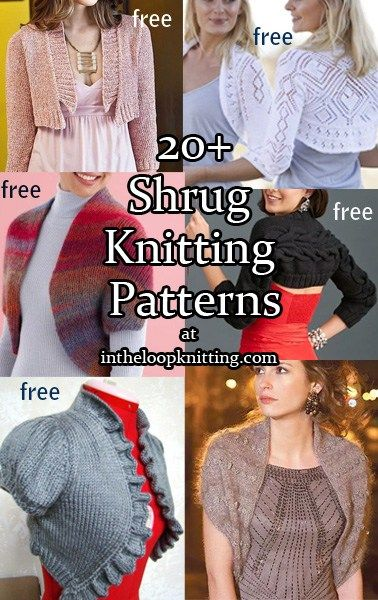 Knitting patterns for shrugs and boleros, most are free patterns