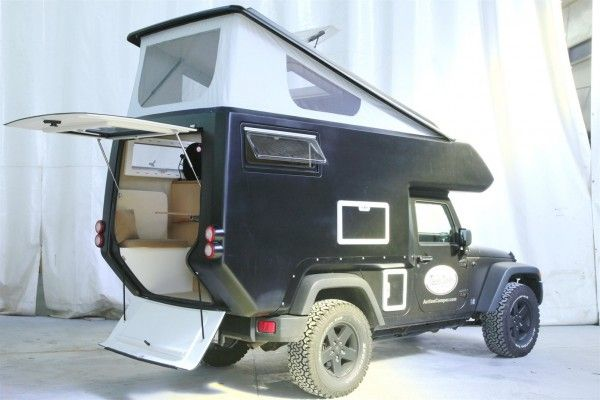 Crazy and cool...... Jeep Action Camper: Turns Your Jeep into an RV...........with bed, table and 2 chairs, portapotty, kitchen......