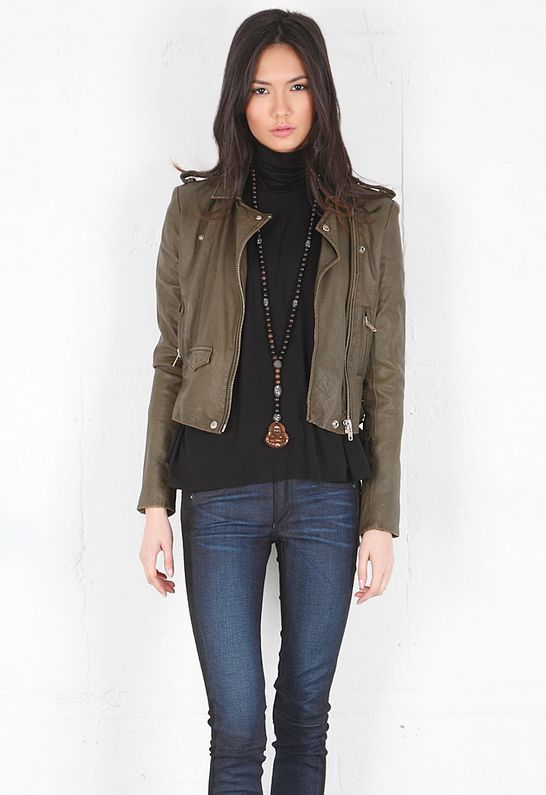The 25  best Cropped leather jacket ideas on Pinterest | Green ...