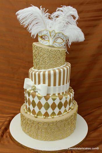 Topsy Turvey Sweet 16 Masquerade Theme Cake!  Each tier…