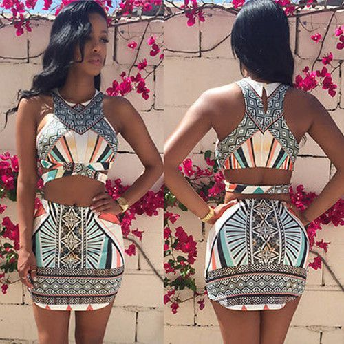 Aztec Two Piece Crop Top and Skirt Set