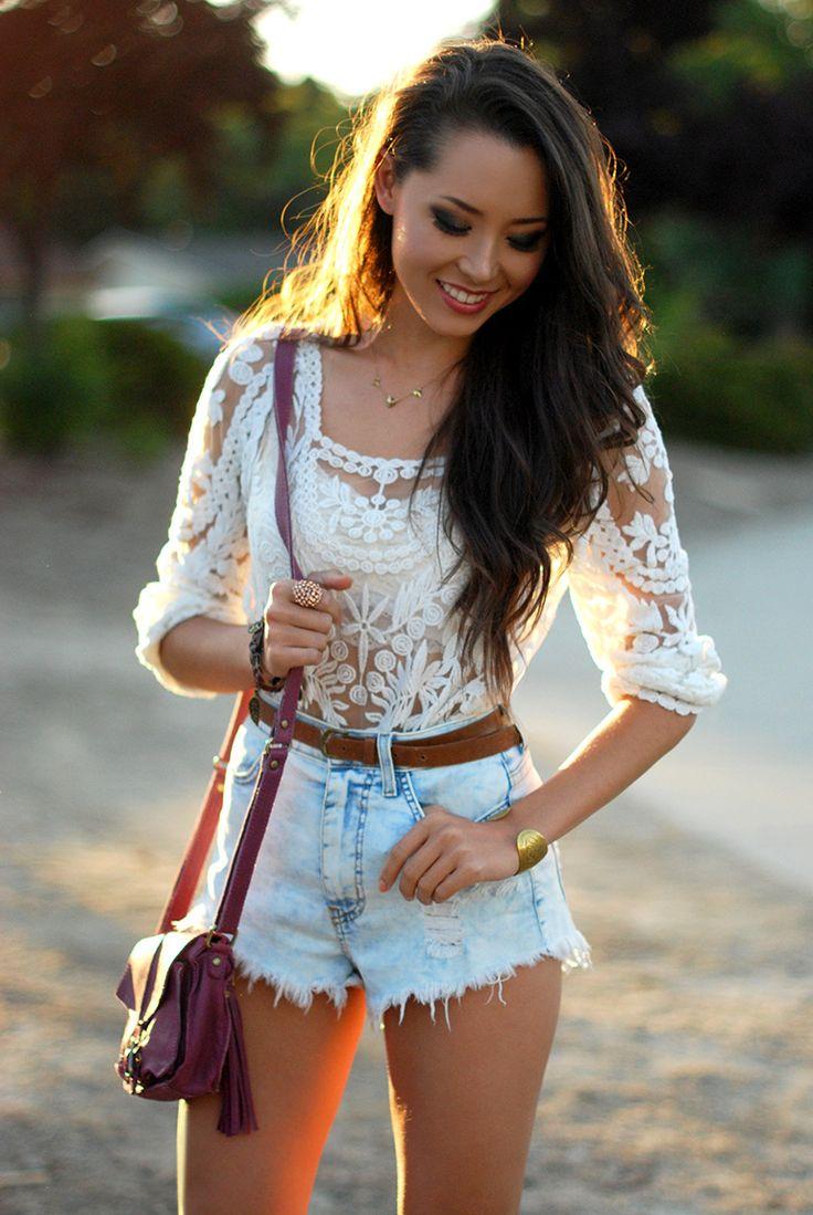 blouse jewels shorts white bag blue jean shorts whitelace white lace white