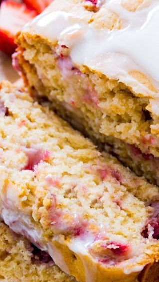 Super moist strawberry quick bread is mixed together in a snap. Drizzle it with a sweet vanilla glaze and get ready to indulge. This is a new favorite!