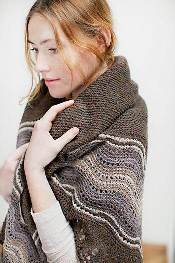 Old shale shawl pattern -- quite nice! Uses Brooklyn Tweed Loft yarn
