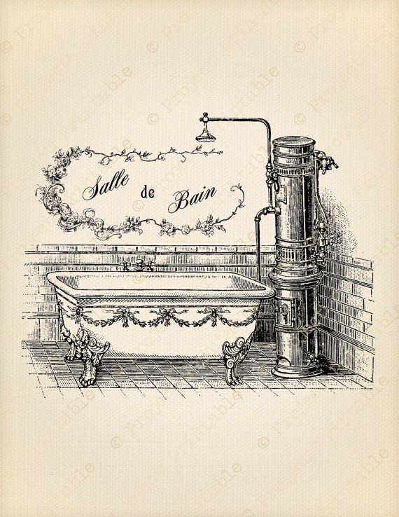 French vintage bathroom signs the image for Salle de bains vintage
