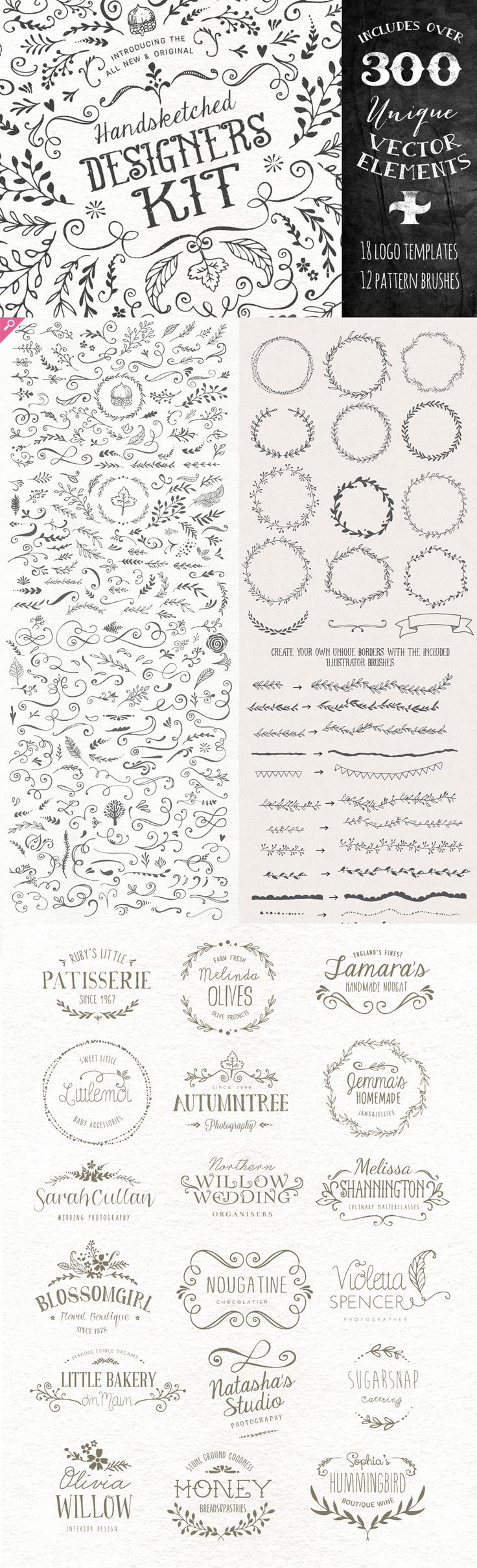 Ultimate Vector Elements Collection handdrawn logos