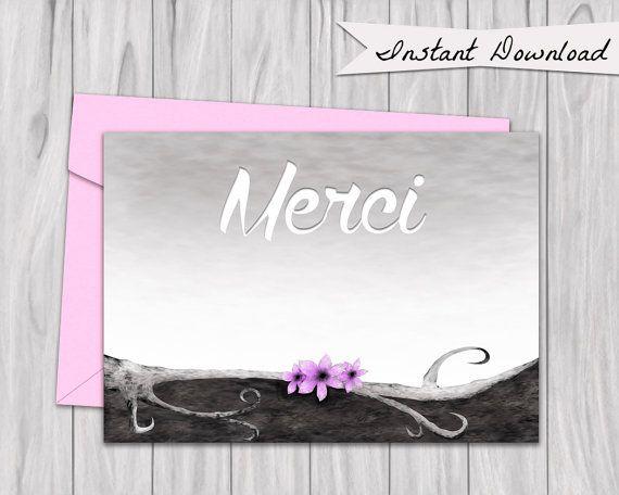 Merci carte, Printable French Thank you Card