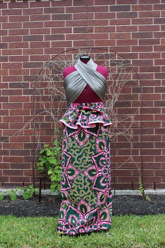 Long African Skirt & Matching Peplum Belt