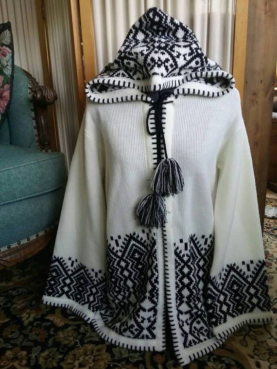 Check out this item in my Etsy shop https://www.etsy.com/listing/516820782/black-white-pattern-knit-hooded-sweater