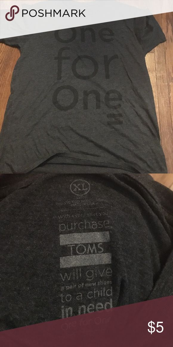TOMS one for one t-shirt Gently used t-shirt. Size says XL but I'd say it fits more like a L. TOMS Tops Tees - Short Sleeve