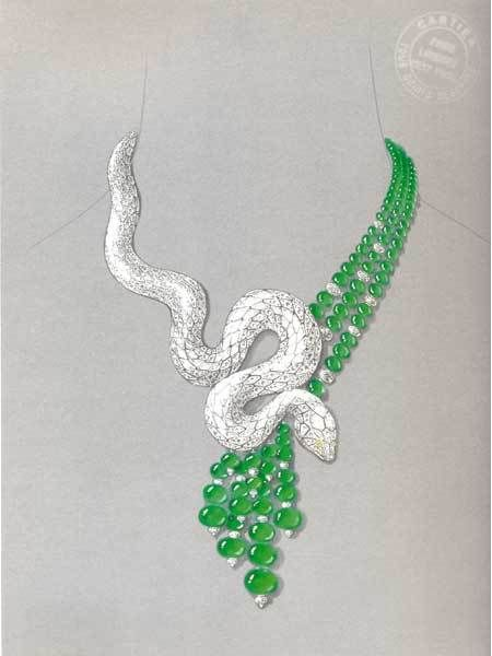 PURPLE by Anki: Creativity on Paper.. Snake necklace with diamonds and emralds