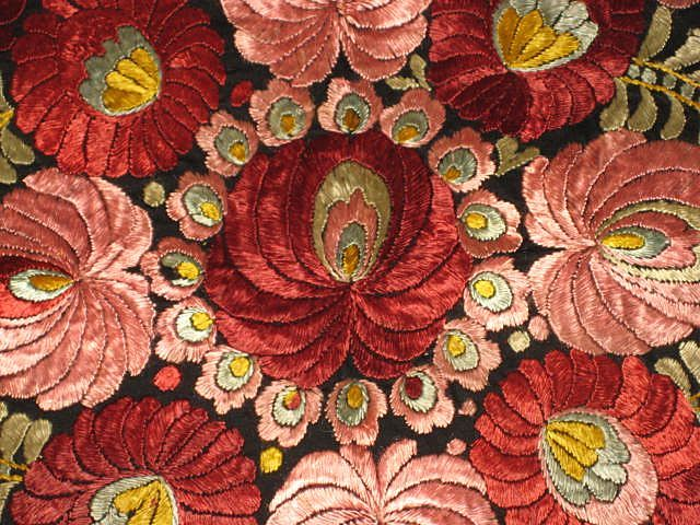 Superb 1920's Matyo Hand Embroidered Pink & Burgundy Floral Pillow