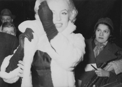 """Marilyn attending Jackie Gleason's birthday party at Toot's Shor February 26, 1955. """"What I saw so briefly in my glimpse of Marilyn at the very peak of her stardom { and the start of my career } that fervent, still remarkably naive look of all - consuming passion for learning about her craft and art - haunts me still."""""""
