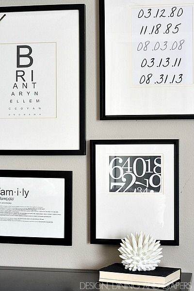 Black and White Gallery Wall with FREE Printables by @Taryn H H {Design, Dining + Diapers}