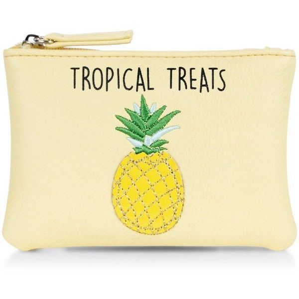 New Look Yellow Tropical Treats Pineapple Zip Top Coin Purse ($5.83) ❤ liked on Polyvore featuring bags, wallets, zip top bag, change purse wallet, coin pouch wallet, pineapple bag and yellow bag