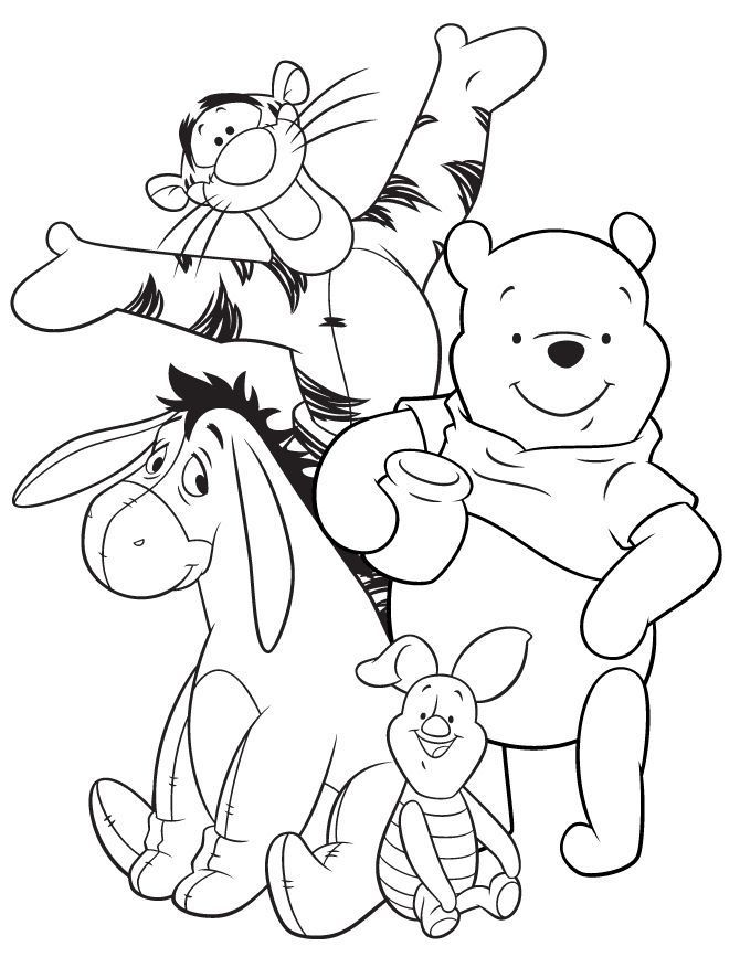 Eeyore Tigger Pooh And Piglet Coloring Page Design Kids Cartoon Coloring Pages Disney Coloring Pages Cute Coloring Pages