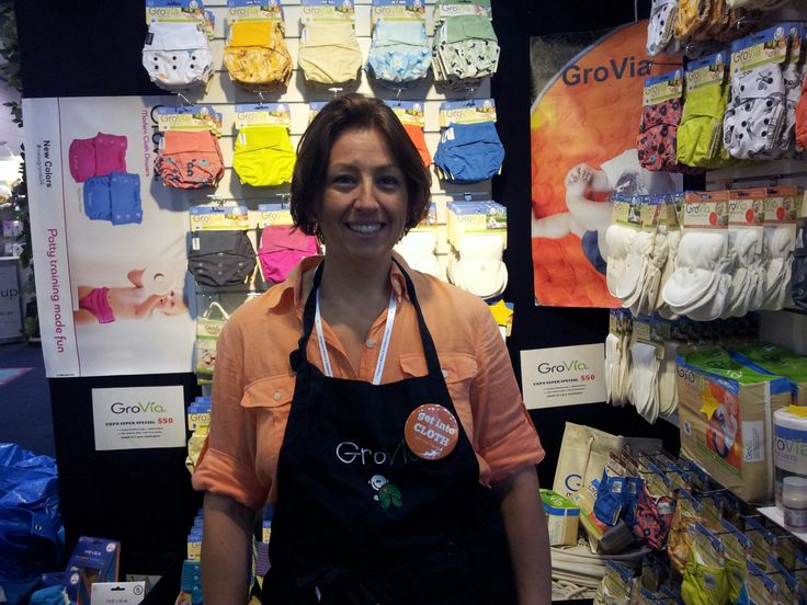 Australian Nappy Association member Cass from #GroVia Australia showing off her #GetIntoCloth badge at the @pbcexpo in Melbourne Oct 2014.   #clothnappies