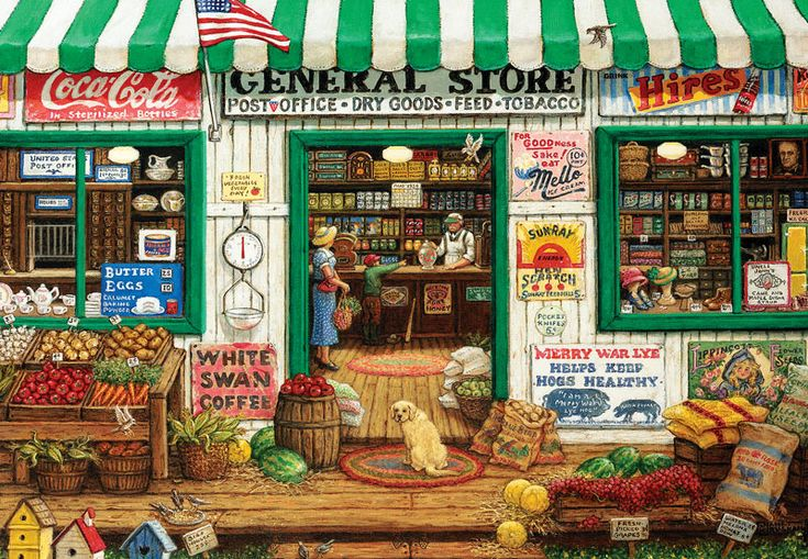 "EZ Grip - General Store is a 1000 piece jigsaw puzzle featuring a scene from simpler times at the general store.  Puzzle measures 27"" x 39"" when complete."