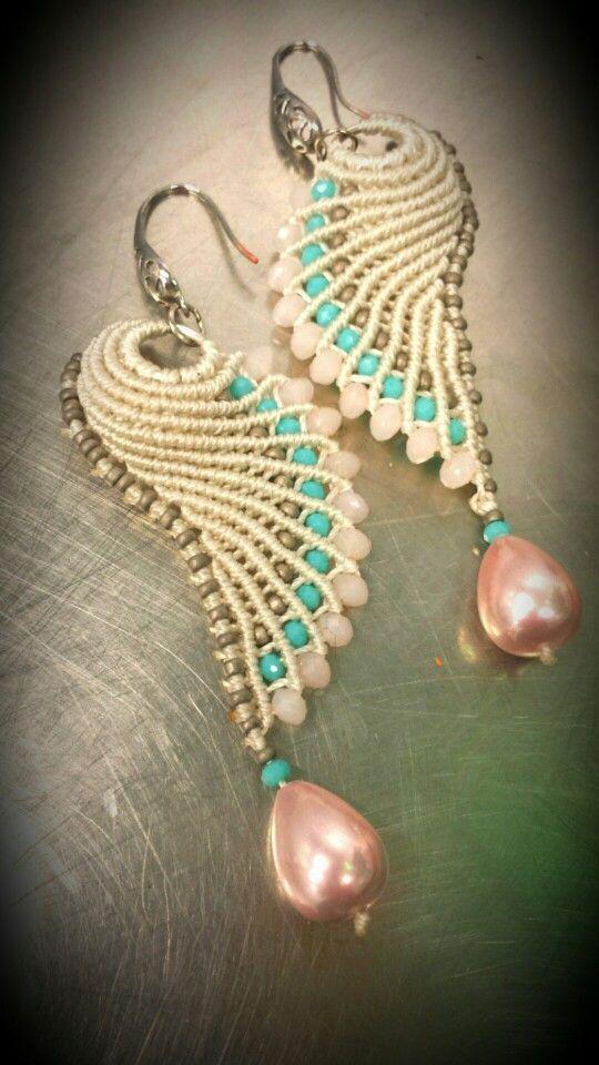 (11) Macramè earrings | Макраме | Сережки, Крылья и Серьги В Форме Крыльев