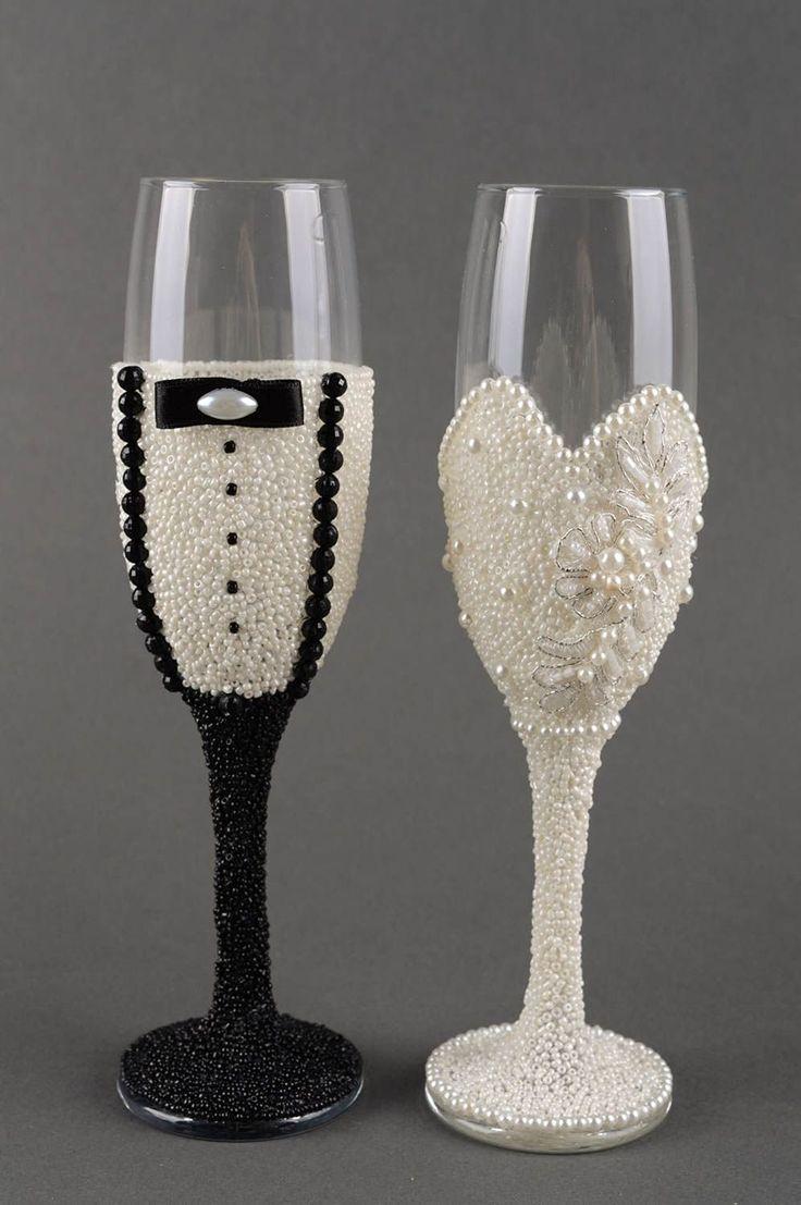Amazon Com Handmade Wedding Champagne Glasses 2 Pieces
