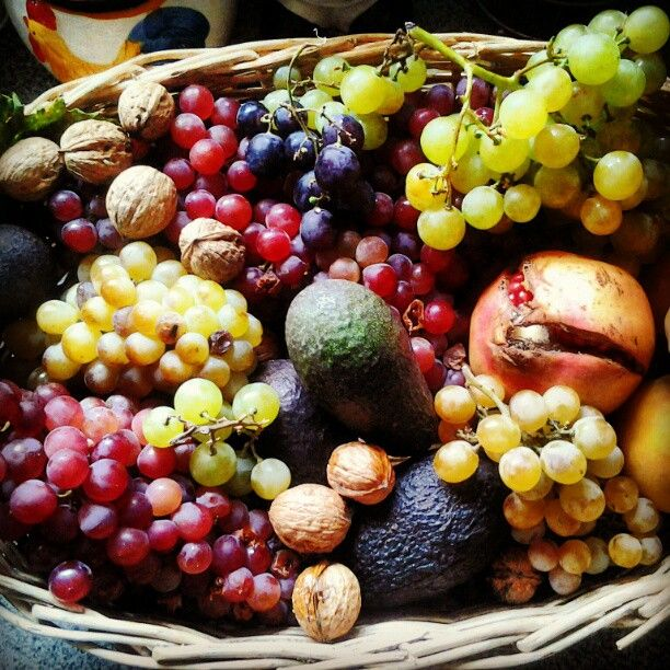 "Typical fruits of the land from Quebrada Alvarado, Chile.     Different kinds of grapefruits, avocados, nuts and a thing called ""Granada"" (which i cannot translate, lol)"