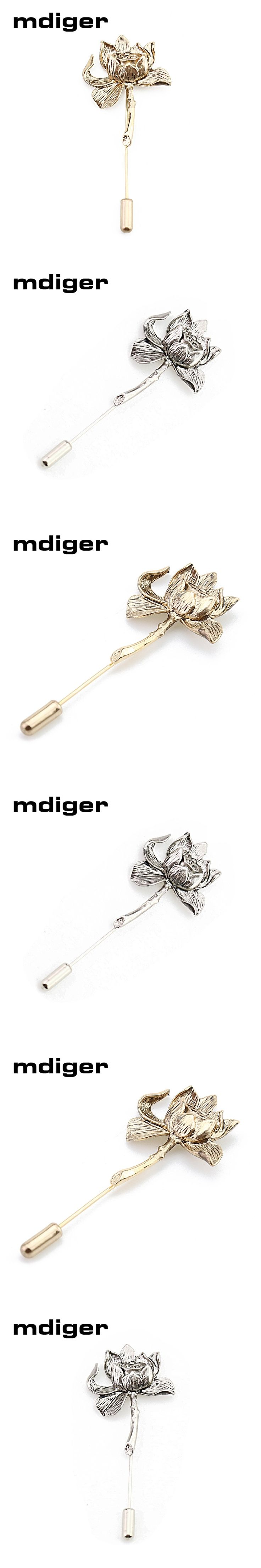 Mdiger Brand Silver/Gold Plated Metal Lotus Flower Brooch Collar Pins Men Shirt Wedding Brooch Lapel Pins Men Suit Accessories
