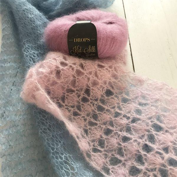 shawltje in de waaiersteek met Drops Kid-Silk, super zacht en licht garen voor haken en breien. Uit voorraad leverbaar. Snel geleverd, bestel voor 20 uur.