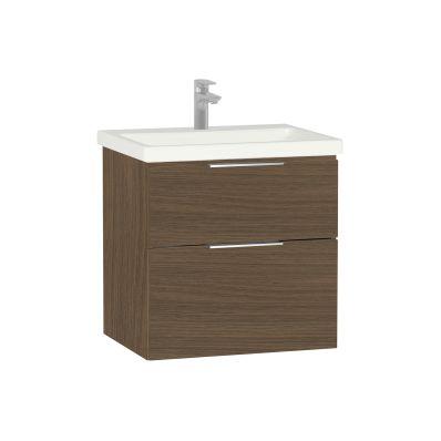 Ecora Washbasin Unit, 2 Drawer, Including Basin, 60 cm, Oak