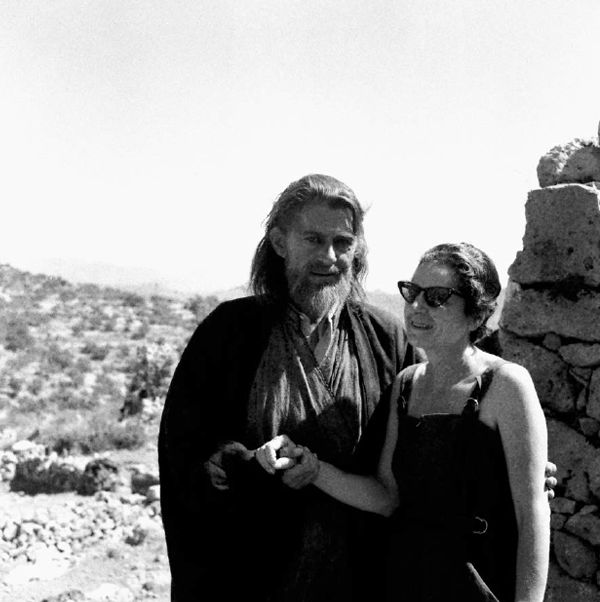 """Agios Nikolaos, Kritsa, 1960s, Eleni Kazantzaki during the shooting of Jules Dassin's film """"He Who Must Die"""" (Celui qui doit mourir, 1957) based on the novel of Nikos Kazantzakis, photography: Dimitris Papadimos"""